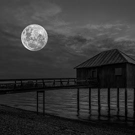 Moon!!! by Jesus Giraldo - Buildings & Architecture Homes ( water, moon, haus, pier, night, lake )