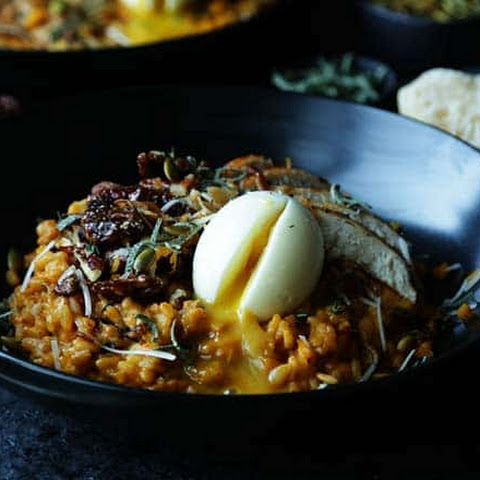 Pumpkin Risotto Recipe with Candied Pecans