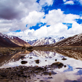 Shandur National Park by Syed Nayyar Hussain Kazmi - Landscapes Mountains & Hills ( clouds, pakistan, reflection, national park, sky, mountain, snow, lake )
