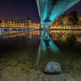 P r o t e c t e d  S t o n e by Manu Heiskanen - Uncategorized All Uncategorized ( mirror, water, eskilstuna, stone, bridge )