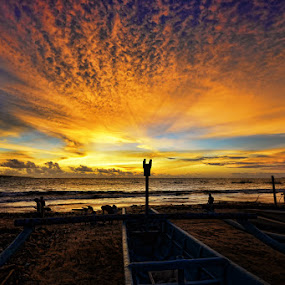 Sunset on Fisherman Village by Hendri Suhandi - Landscapes Cloud Formations ( clouds, landscape )