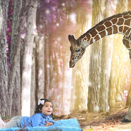 Dreaming! by Suleika Figueroa - Digital Art People ( giraffe, colors, composition, imagination, girl toddler, woods )