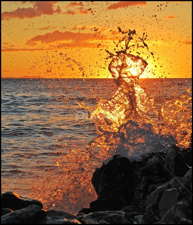 Joy by Mirna Abaffy - Landscapes Waterscapes ( waterscape, sunset, wave, summer, sea, sun )