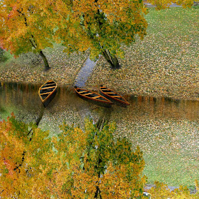 If there a running river was under my window... by Zenonas Meškauskas - Digital Art Places ( imagine, autumn, fall, boats, yellow, leaves, river )
