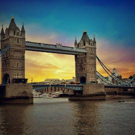 Tower Bridge. by Gene Brumer - Buildings & Architecture Bridges & Suspended Structures ( sky, waters, sunrise, london, sunset, tower bridge )
