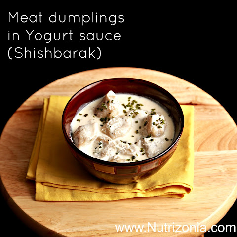 Meat dumplings in Yogurt sauce (Shishbarak)