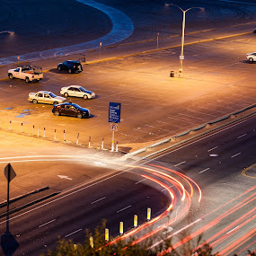 driving at night by Eric Ebling - City,  Street & Park  Street Scenes ( lights, parking, cars, lot, night )