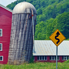 Leaning Silo by David Nelson - Buildings & Architecture Architectural Detail ( leaning silo,  )
