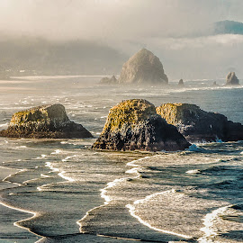 Three by Richard Michael Lingo - Landscapes Waterscapes ( ecola state park, waterscape, beach, water, landscape )