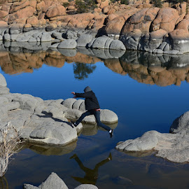 He jumped by Christie Schiffelbian - Landscapes Waterscapes ( water, waterscape, landscape, rocks )
