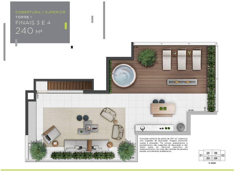 Planta Cobertura Superior - 240 m²