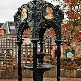 by Tina Stevens - City,  Street & Park  Fountains ( queen victoria, fountain, metalwork, highlands, metal, raised, statue, great britain, brass, artwork, fort augustus, royalty, platform, scotland, plinth, iron,  )