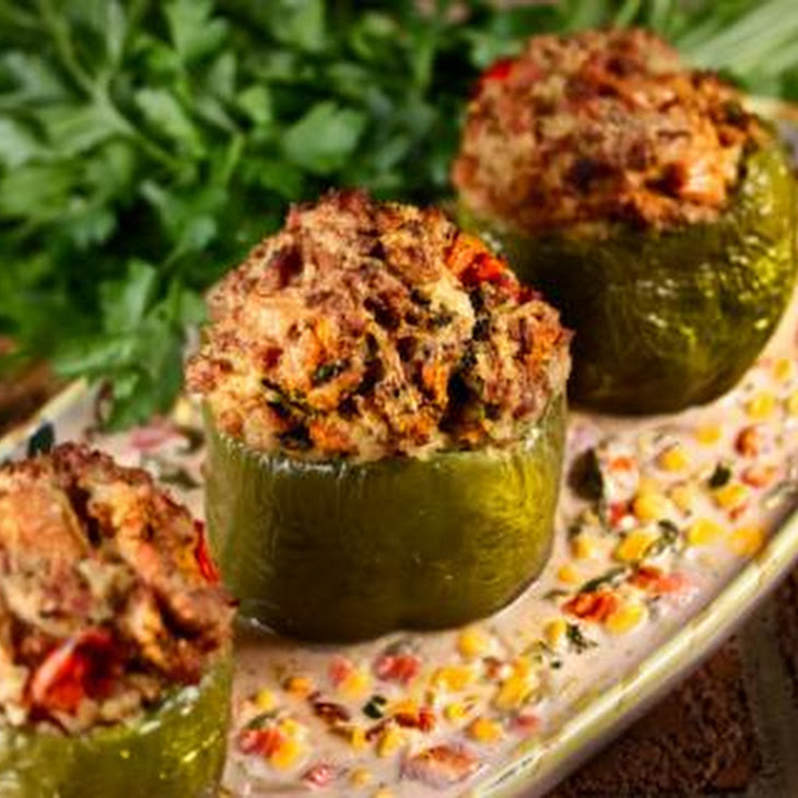 Chicken Stuffed Bell Peppers With Maque Choux Recept | Yummly