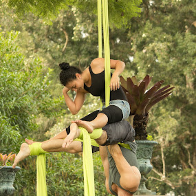 417 by Andro Zeledón - People Street & Candids ( aerial tissues, park, street, aerial silk, portrait, aerial silks, tissu, public park, street portrait, ribbon, couple, aerial contortion, fabric, aerial ribbons )
