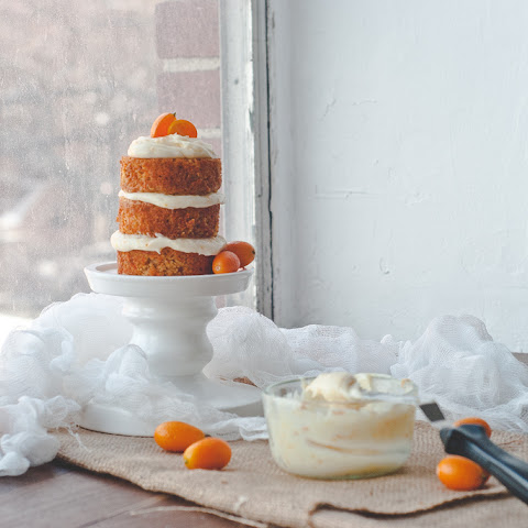 Carrot Cake With Citrus Goat Cheese Frosting.