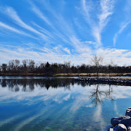 Precipitation to Collection by John Tuttle - Landscapes Travel ( clouds, water, reflection, sky, floor, blue, bed )