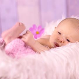 Kenzie by Leanne Vorster - Babies & Children Babies ( baby girl, pink, purple flower, faux fur, newborn )