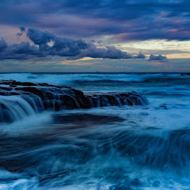 moody sunrise @ Garie Beach by Cheryl Waring - Landscapes Waterscapes