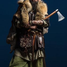 Viking Beach Portrait by John Haswell - People Musicians & Entertainers ( warrior, beach, portrait, viking, axe,  )