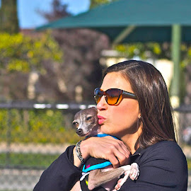 by Victoria Eversole - People Street & Candids ( dog lovers, candids, dog parks, woman and dog )