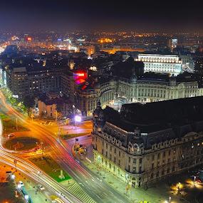 Bucharest night view by Ion Alexandra - City,  Street & Park  Vistas ( panoramic view, night shot, night, lights )