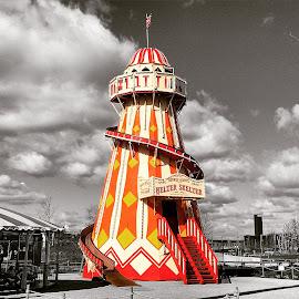 Helter Skelter  by Pip Holden - City,  Street & Park  Amusement Parks ( helter skelter, coloursplash )