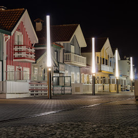Costa Nova by Carlos Costa - Buildings & Architecture Homes ( lamps, costa nova, houses, aveiro, street, stripes, portugal, tipical, light, city at night, street at night, park at night, nightlife, night life, nighttime in the city, mood factory, color, lighting, moods, colorful, bulbs, mood-lites )
