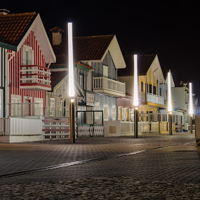 Costa Nova by Carlos Costa - Buildings & Architecture Homes ( lamps, costa nova, houses, aveiro, street, stripes, portugal, tipical, light, city at night, street at night, park at night, nightlife, night life, nighttime in the city, mood factory, color, lighting, moods, colorful, bulbs, mood-lites,  )