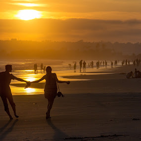 Young Love by Mark Ritter - People Couples ( love, san diego, california, silhouette, sunset, point loma, coronado, beach, coiuple )