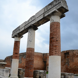 Still Standing in Pompeii by Maggie Magee Molino - Buildings & Architecture Public & Historical ( sky, blue, columns, stone, ruins )