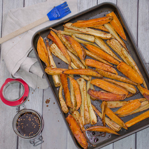 Roasted Parsnip and Sweet Potato with Sauce Aigre-Doux