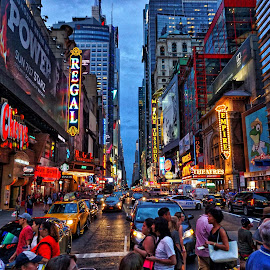 A little New York  by Robert Kiss - City,  Street & Park  Street Scenes ( night photography, times square, beautiful, street, busy, manhattan, night, new york, nightscape )