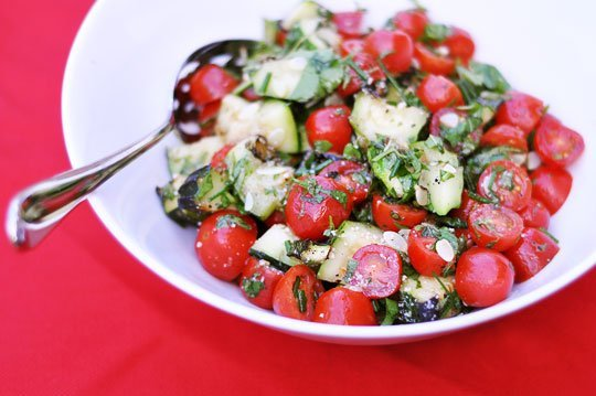 Grilled Zucchini and Grape Tomato Salad Recept | Yummly