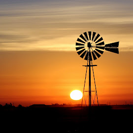PRAIRIE DAWN by Dana Johnson - Landscapes Sunsets & Sunrises ( dawn, sunrise, landscape, prairie, windmill )