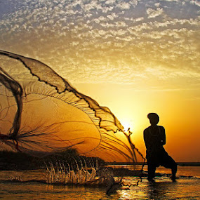Last Try by Abdul Rehman - Professional People Agricultural Workers ( canon, pakistan, punjab, sunset, rural life, fisherman, river chenab,  )