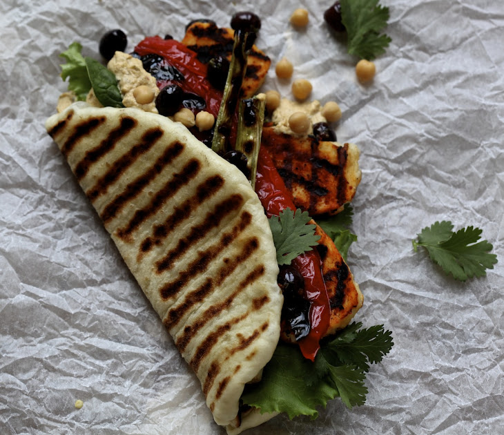 Harissa Halloumi and griddled Vegetables With Flat Bread Recipe ...