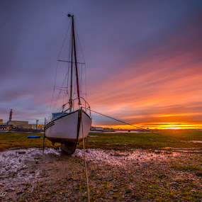 Waiting for the tide by Graham Kidd - Transportation Boats ( clouds, sunrise, boat, golden )