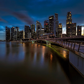 by Gordon Koh - City,  Street & Park  Vistas ( shenton way, clouds, fullerton, skyline, blue hour riverfront, financial district, travel, cityscape, singapore, city )