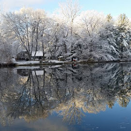 First Snow Thornapple River by Jennifer Clark - Landscapes Waterscapes