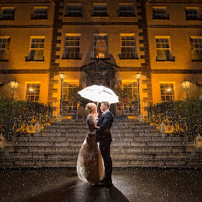 Rain by Adrian O'Neill - Wedding Bride & Groom ( flash, hotel, bride, groom, rain )