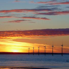 Turbine sun set  by Ste D - Landscapes Sunsets & Sunrises ( clouds, sea, beach, turbines, sun,  )