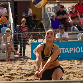 Beach volley by Simo Järvinen - Sports & Fitness Other Sports ( sand, ball, volleyball, woman, beach volley, sports, summer, spectators, game )