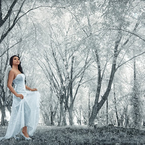 A Fairy Lost iN The Forest Winter by Adiie Winata - People Fashion ( potrait, fine art, women, conceptual )