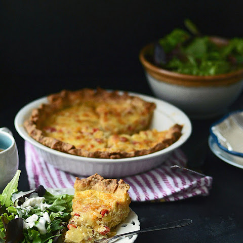 Bacon Leek and Roasted Red Pepper Quiche