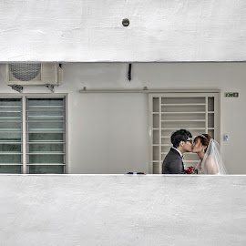 Before we go in.... by Jyn Tah Zen - Wedding Bride & Groom