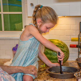 Helping grandma make a cake by Joe Saladino - Babies & Children Children Candids ( grandmother, girl, kitchen, child )