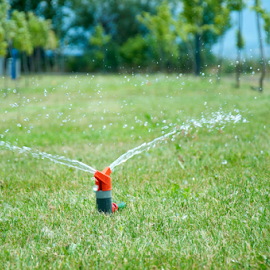 Sprinkler watering the green grass  by Deyan Georgiev - Nature Up Close Water ( lawn, moisture, equipment, heat, droplets, nature, shiny, cool, grass, maintenance, automatic, agriculture, turf, sunlight, system, season, sprinkler, hot, shower, plant, yard, plants, land, landscape, spring, pipe, irrigation, irrigate, refreshing, conservation, wet, water, dry, spray, green, back, front, agricultural, environmental, field, ornamental, organic, background, drops, gardening, summer, freshness, garden, mist, growth )