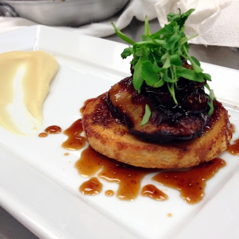 Seared Foie Gras With Fig Gastrique and Parsnip Puree
