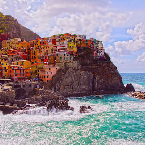 Manarola, Italy by Dee Haun - City,  Street & Park  Skylines ( hdr, highly colored, manarola, italy, saturated,  )