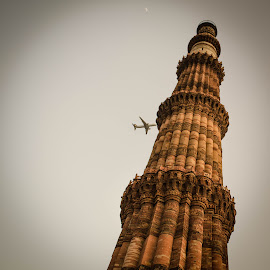 Thank God it's not 09/11.  by Vishnu Agrawal - Buildings & Architecture Statues & Monuments ( new delhi, kutub minar, kutub, india )